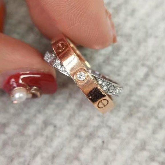 專櫃正品 CARTIER 卡地亞 LOVE 玫瑰金 双環 鑲鑽 52號 戒指( 近新福利品!優惠出清換現金 )