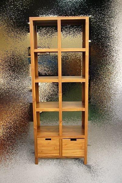 連冠二手家具 P760 庫存-柚木實木8格書櫃 書架 展示架 雙面櫃 層架