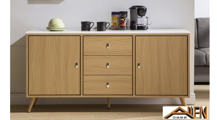 亞倫傢俱*艾奈爾立體木紋5.3尺石面碗盤櫃
