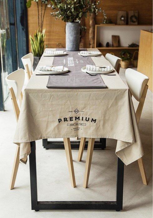 - Meiprunus -原創 設計 北歐 歐美 英文 米色 棉麻 餐桌布 桌巾 沙發布(S)136cm*180cm
