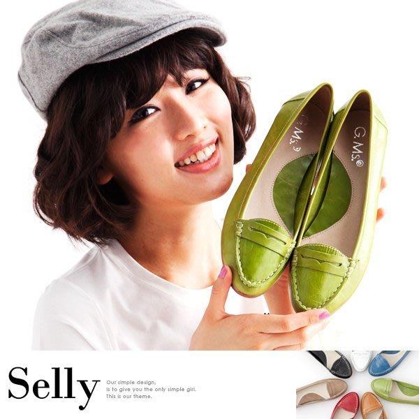 Selly *沙粒*(03U39)時尚學院風‧英倫款牛皮樂福平底鞋‧7色 *現貨*
