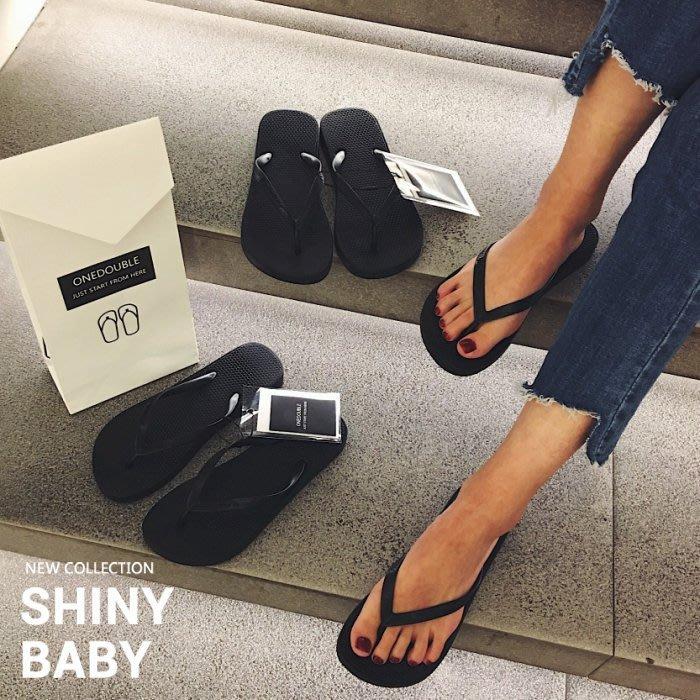 夏娃 SHINY BABY*春夏 韓國歐美街款質感高端黑色人字拖女休閒拖夾腳防滑平跟沙灘鞋[1088943]