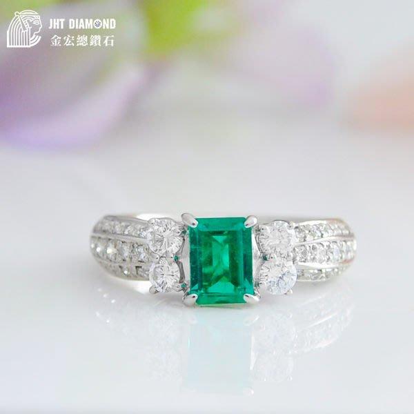 【JHT 金宏總珠寶/GIA鑽石專賣】天然祖母綠鑽石白金戒 0.58ct (JB19-B9)*