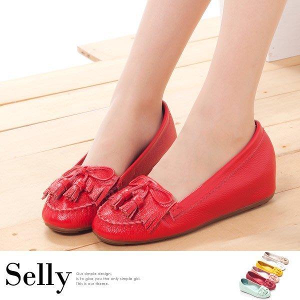 Selly *沙粒*(M088)Q彈新主張-流蘇蝴蝶結真皮內增高豆豆鞋‧六色