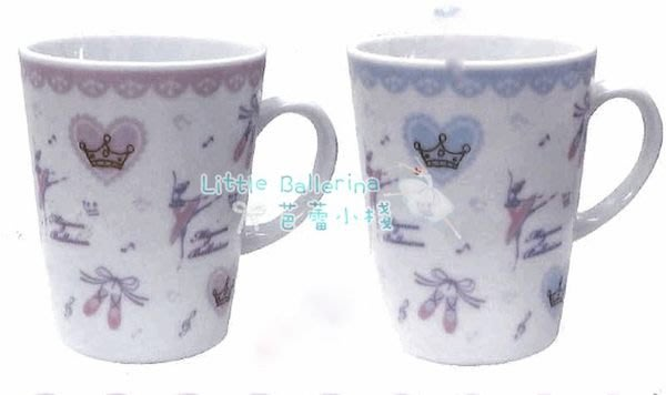 芭蕾小棧生日畢業表演禮物日本進口POINTE粉紅/粉藍愛心舞鞋馬克杯瓷杯咖啡杯茶杯