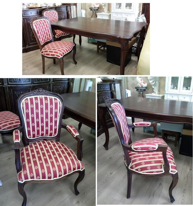 美生活館--- 全新 法式 古典 麗莎 桃花心木 餐桌椅組 -- 一桌六椅特優 55800元