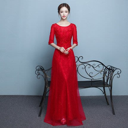 【曼妮婚紗禮服】3件免郵~結婚敬酒禮服  婚禮 宴會 修身顯瘦長禮服AE181