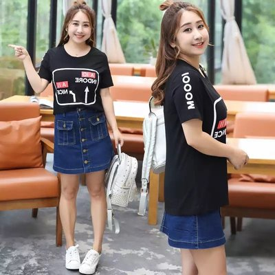 ✿plump girl 氣質✿中大尺碼女裝孕婦裝印花短袖T恤衫6926