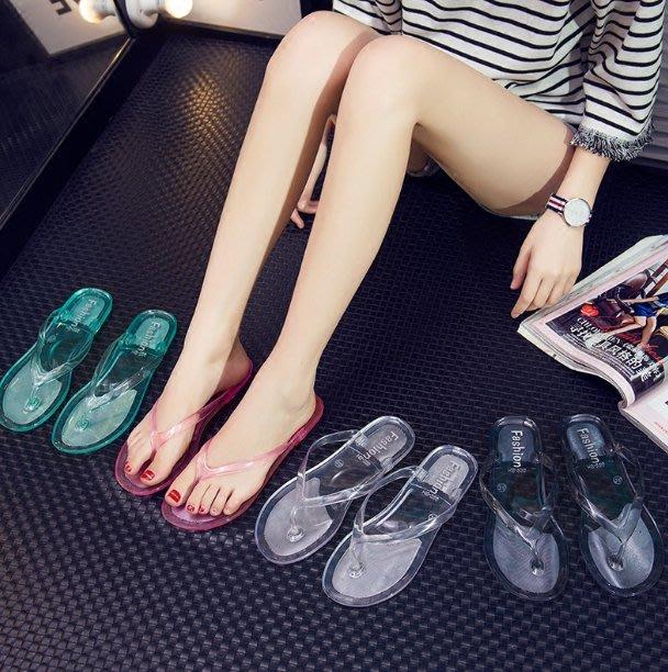 夏季平底時尚室外穿女水晶透明學生平跟夾腳人字拖沙灘海邊涼拖鞋 水晶鞋 平底鞋 沙灘鞋 夾腳人字拖 36-41碼