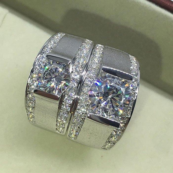磨砂鑽戒1-2克拉單一特價4500 求婚 結婚 情人節禮物純銀男士戒指 精工 鑽戒高碳仿真鑽石  FOREVER鑽寶