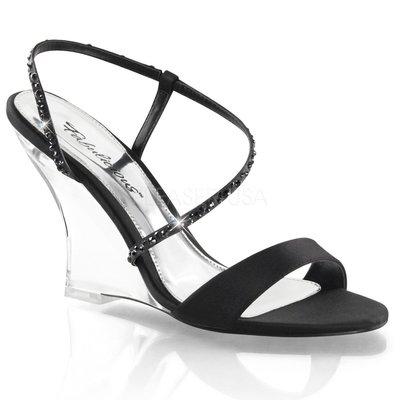 Shoes InStyle《四吋》美國品牌 FABULICIOUS 原廠正品透明楔型高跟涼鞋 有大尺碼 出清『黑色』