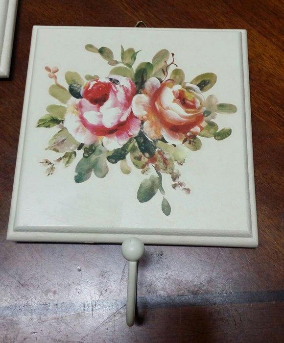 美生活館 玫瑰花 木板 米黃色 做舊 單掛勾 衣帽掛勾 掛畫