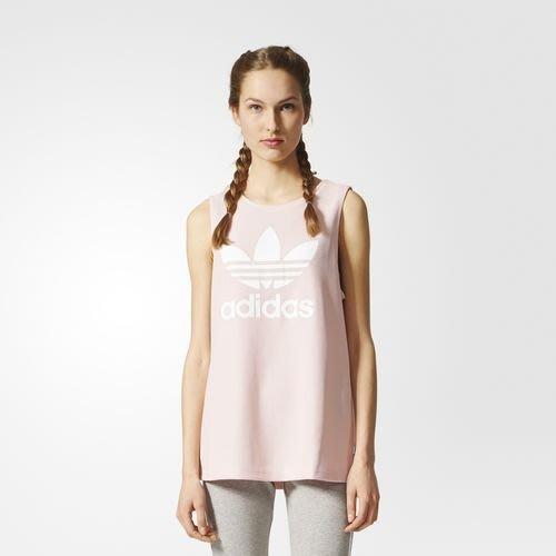 預購 adidas originals  BP9383 粉紅色 印花 LOGO 寬版 長版 運動 背心 上衣