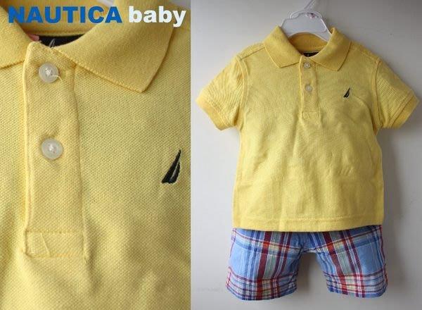 【NAUTICA】100% 全新正品 短袖 POLO衫 + 格子短褲 彌月禮 二件組【12M-2T】*柑橘*