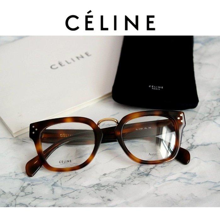 CELINE►Bridge (深琥珀色框×金屬金色/黑色×金屬金色)  貓眼方框框型  眼鏡 光學鏡框  中性款|100%全新正品|特價!