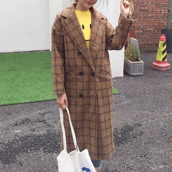 Copy&Paste【免運】韓國訂單.柔軟好摸泰迪熊毛溫暖內裡加厚毛呢版型顯瘦修身格子格紋中長款大衣外套M~XL(預購)