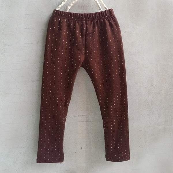 【班比納精品童裝】彈力內磨毛點點內搭褲-咖啡