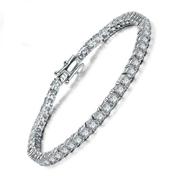飾品配件珠寶/鑽石手鍊手環純銀手鏈 滿鑽爪鑲高檔飾品SONA仿真鑽石 鉑金手鏈質感