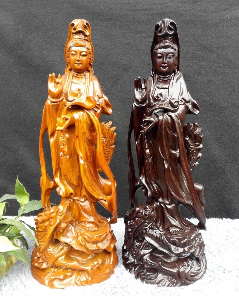 【弘慧堂】草花梨站龍觀世音菩薩 如意觀音佛像 黑雕木雕工藝禮品紅木工藝禮品