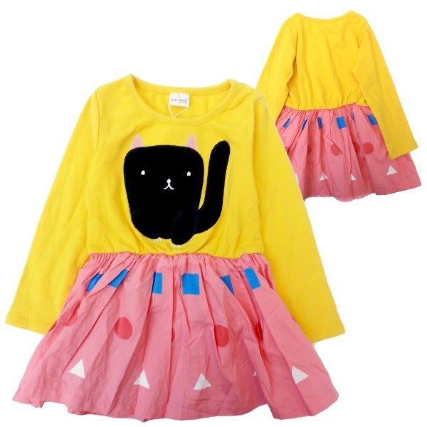 【班比納精品童裝】貓咪拼接幾何洋裝-黃【BN140924016】