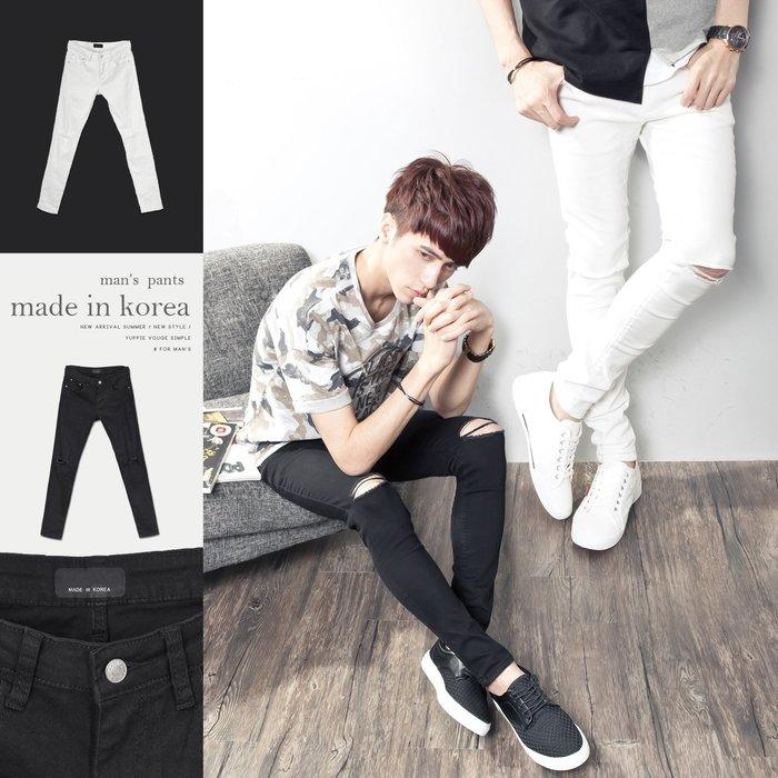 。SW。【K91285】正韓 韓國製 雅痞 修身 雙膝刀割破壞抽鬚 彈性佳 觸感舒適 黑白素面 窄版 彈性牛仔單寧長褲