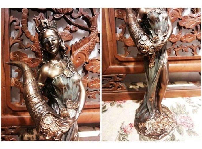 [  居家藝術 希臘羅馬神話系列-幸運女神 雕像 擺 飾 ]-命運女神 財富女神-Fortuna-Tykhe.