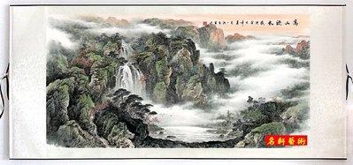 『名軒山水畫』 國畫字畫 花鳥畫 風水畫 牡丹裝飾畫(高山流水)已裱卷軸可直接懸掛