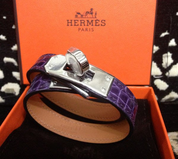Hermes Kelly Double Tour Ltsspb Alli 凱莉雙圈鱷魚手環9G Amethyste紫
