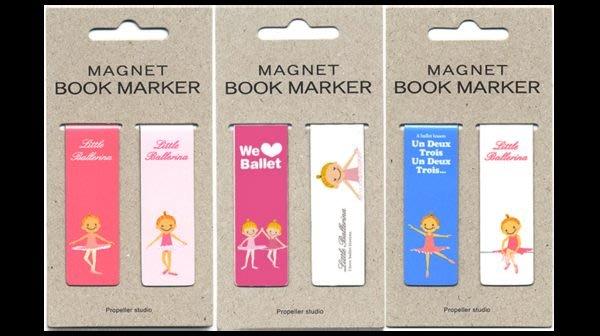芭蕾小棧生日畢業表演禮物日本進口Little Ballerina可愛文具磁性書籤舞者愛心白粉藍二個入
