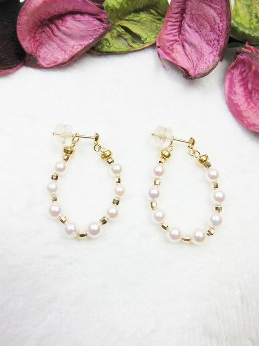 18K日本珍珠兩用耳環【元圓珠寶】