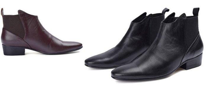 秋冬新品 英倫皮靴 頭等牛皮低筒靴 尖頭男靴 套筒靴子