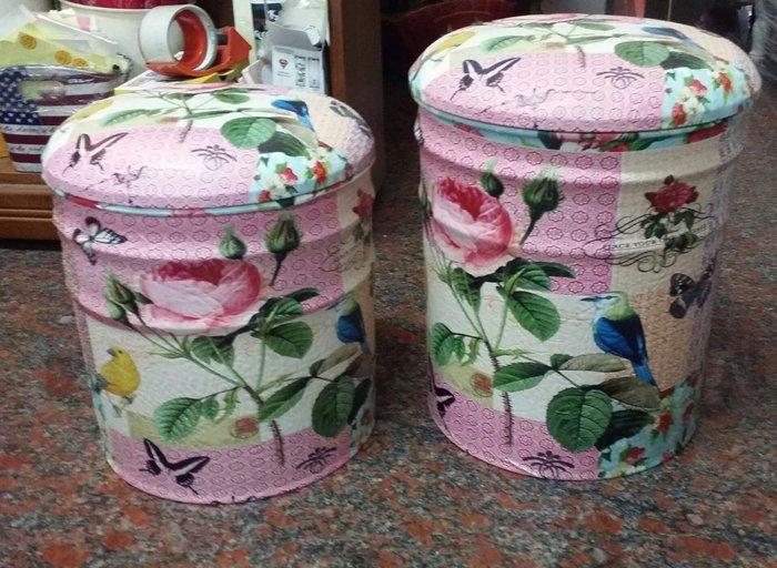 美生活館--全新 鄉村工業 LOFT風格 粉紅 玫瑰花 鳥 蝴蝶圖案 二入一組收納箱 收納椅 穿鞋椅 玩具箱 店面 民宿