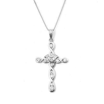 【JHT 金宏總珠寶/GIA鑽石專賣】0.36ct天然十字架鑽墜/材質:18K(D000003)