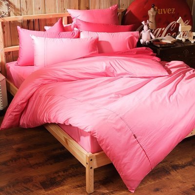 《60支紗》雙人加大床包兩用被套枕套四件式【亮粉】Magic colors 100%精梳棉-麗塔寢飾-