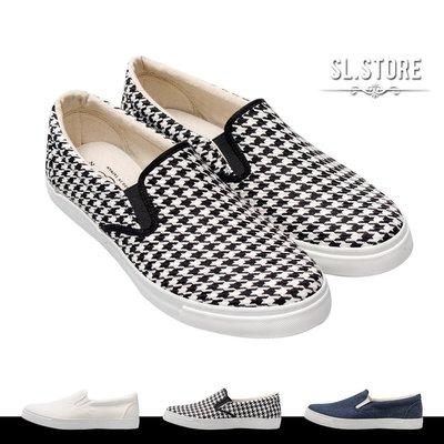 SL Store【FUP43】百搭素面/千鳥紋鬆緊帶懶人鞋.白/千鳥紋/藍