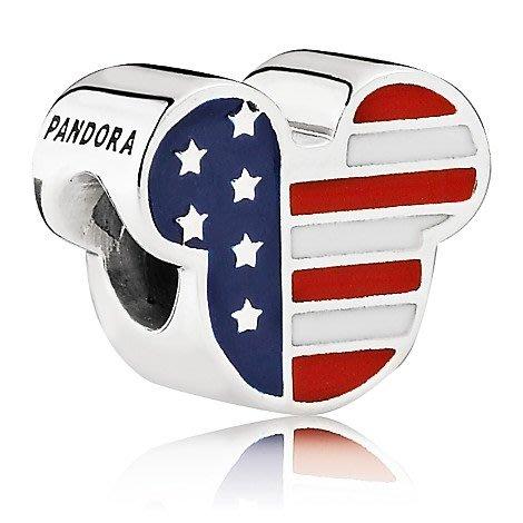 【美國大街】正品.美國迪士尼潘朵拉美國國旗米奇串珠潘朵拉串珠潘朵拉珠珠 Pandora 【附盒】