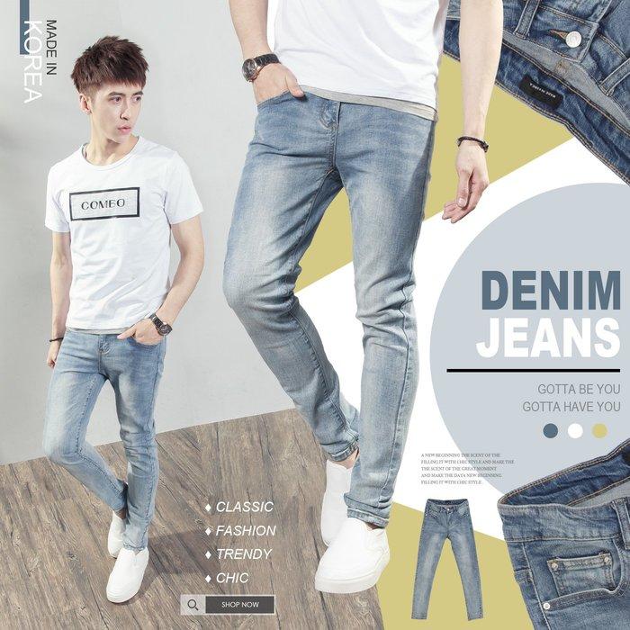 。SW。【K91525】正韓PE 韓國製 修身 極簡古著刷色 挺實彈性單寧布 觸感舒適 窄版 淺藍 彈性牛仔褲 GD