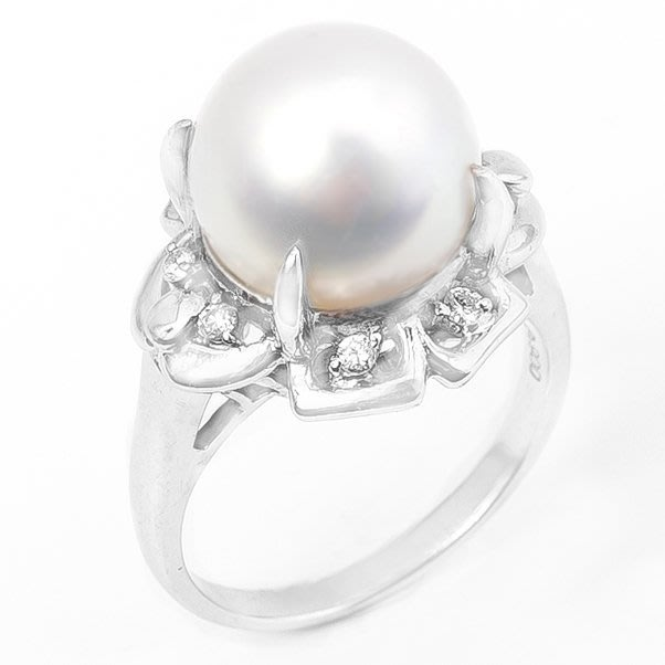 【JHT 金宏總珠寶/GIA鑽石專賣】11.8mm天然珍珠鑽石戒指/材質:PT900(PP00015)