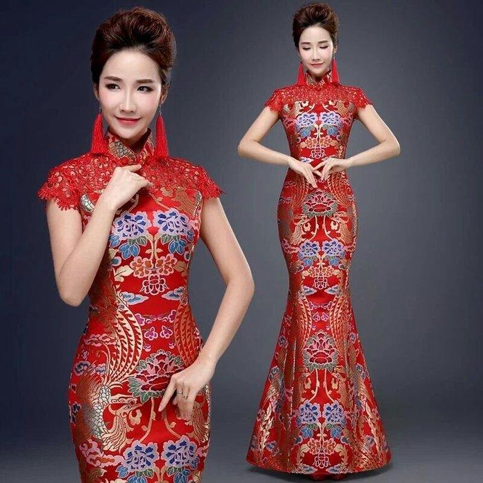 天使佳人婚紗禮服~~~魚尾長版紅色禮服新娘修身結婚禮服旗袍