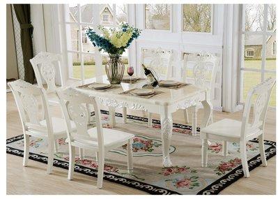 【大熊傢俱】A27 玫瑰 新古典圓餐台 餐桌 轉盤餐桌 鄉村風 歐式餐台 方桌 功能型餐桌 餐椅 靠背椅