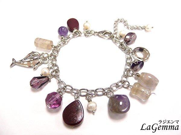 【寶峻晶石】甜美風晶石玻璃珠手鍊/手環,四色可選《紫/黑/藍/粉》SPS-313
