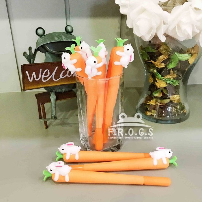 F.R.O.G.S K40184日韓INS款創意兔子吃蘿蔔造型筆0.38mm黑色簽字筆原子筆滾珠筆中性筆辦公用品-現+預