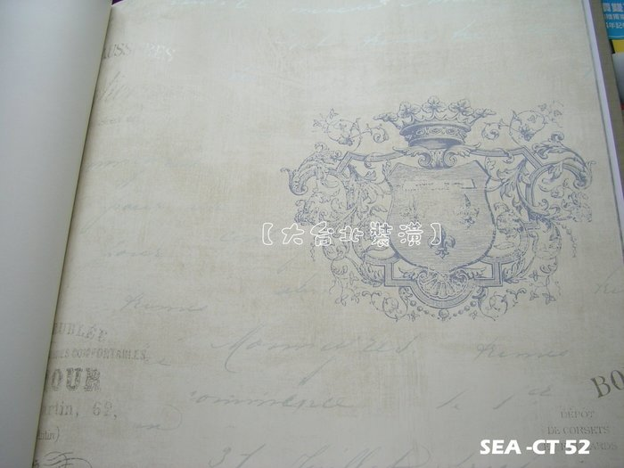 【大台北裝潢】美國Seabrook進口壁紙CT* Charleston Labels 徽章(4色)