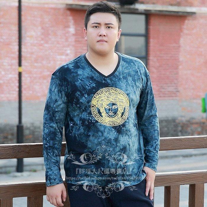 『胖哥大尺碼專賣店』特肥特大號男士超大號男裝T恤長袖肥佬時尚休閑胖子青年棉體恤衫