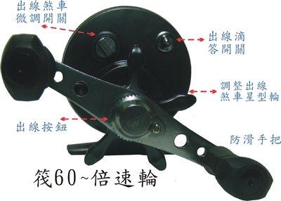筏60 前打輪 倍速輪 倍力輪 筏釣輪 微鉛輪 富士輪 捲線器 配合筏釣竿 排釣竿-前打竿都適合