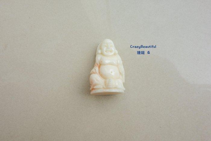 天然A貨-珊瑚-彌勒佛雕刻墜子-G