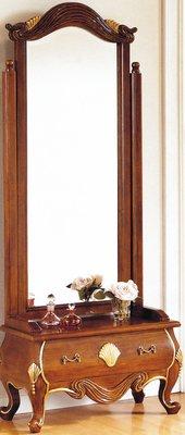 【DH】商品貨號N506-1稱《尊龍》法式胡桃金邊穿衣鏡。復古歐風時尚經典。主要地區免運費