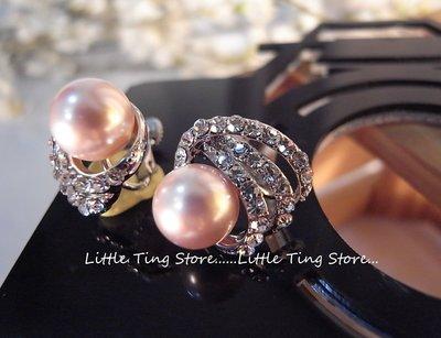 Little Ting Store圣诞节礼物 粉珍珠白钻扇形篓空螺旋圈圈贴耳夹式螺旋栓式耳环耳夹耳环