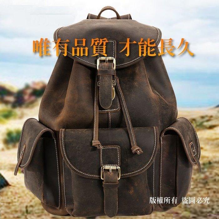 男士包包_英倫復古瘋馬皮雙肩包大容量戶外旅行包男士包包 0009