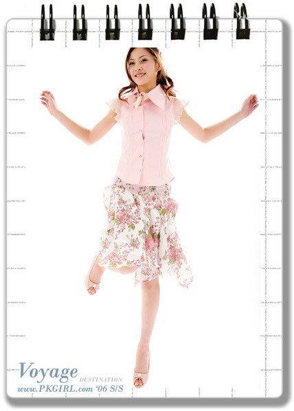 《PINK‧COM》輕熟女‧飄逸雪紡紗質八片剪接不規則下擺裙-印花粉.三色發售